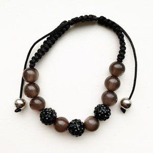 "Black bead & gem ""disco ball"" shamballa bracelet"